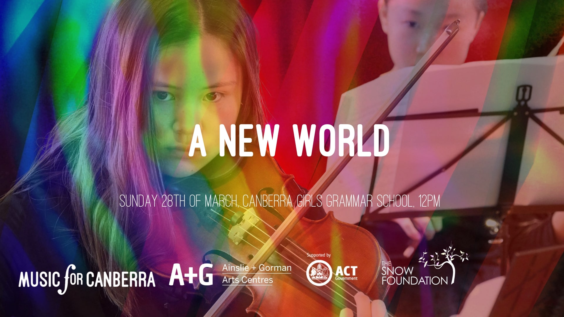 Rainbow swirls with see through image of violinist and white text